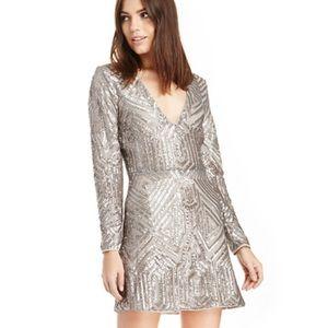 Saylor Sequin Naomi Platinum Dress Size S